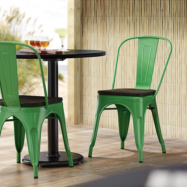 Lancaster Table & Seating Alloy Series Green Metal Indoor Industrial Cafe Chair with Vertical Slat Back and Black Wood Seat Main Image 4