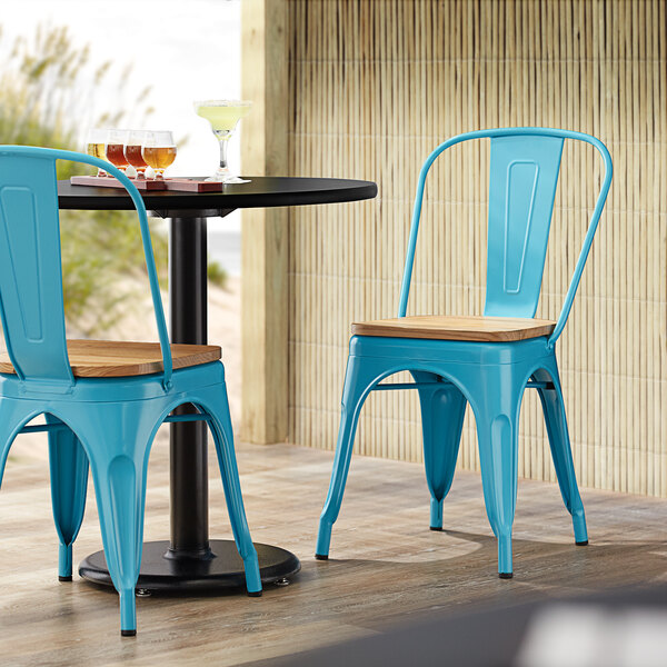 Lancaster Table & Seating Alloy Series Arctic Blue Metal Indoor Industrial Cafe Chair with Vertical Slat Back and Natural Wood Seat Main Image 4