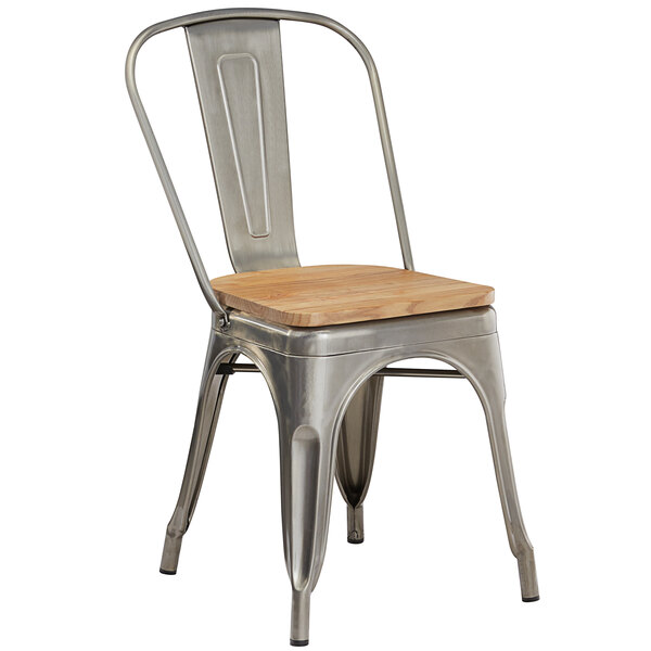 Lancaster Table & Seating Alloy Series Clear Coated Metal Indoor Industrial Cafe Chair with Vertical Slat Back and Natural Wood Seat Main Image 1