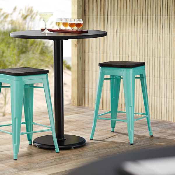 Lancaster Table & Seating Alloy Series Seafoam Metal Indoor Industrial Cafe Counter Height Stool with Black Wood Seat Main Image 3