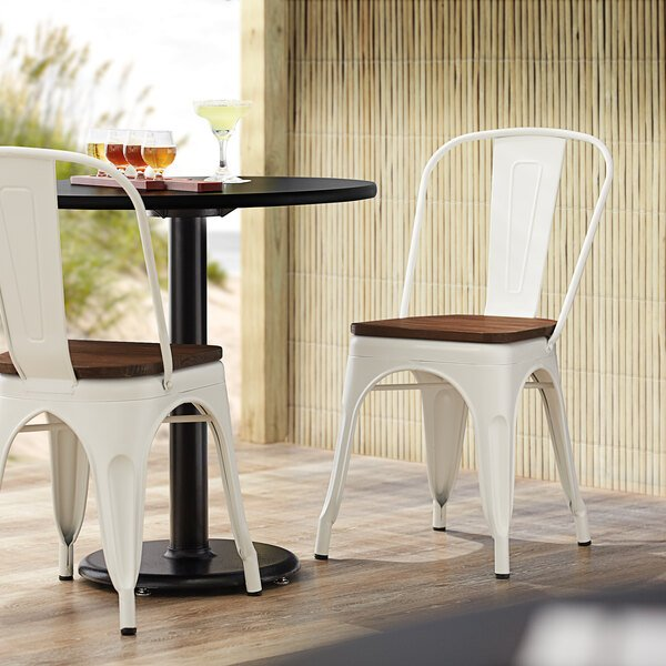Lancaster Table & Seating Alloy Series White Metal Indoor Industrial Cafe Chair with Vertical Slat Back and Walnut Wood Seat Main Image 4