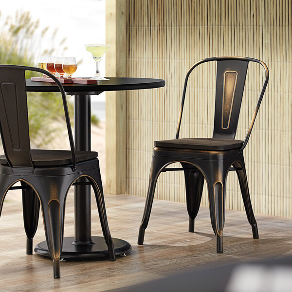 Lancaster Table & Seating Alloy Series Distressed Copper Metal Indoor Industrial Cafe Chair with Vertical Slat Back and Black Wood Seat Main Image 4