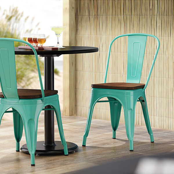 Lancaster Table & Seating Alloy Series Seafoam Metal Indoor Industrial Cafe Chair with Vertical Slat Back and Walnut Wood Seat Main Image 4