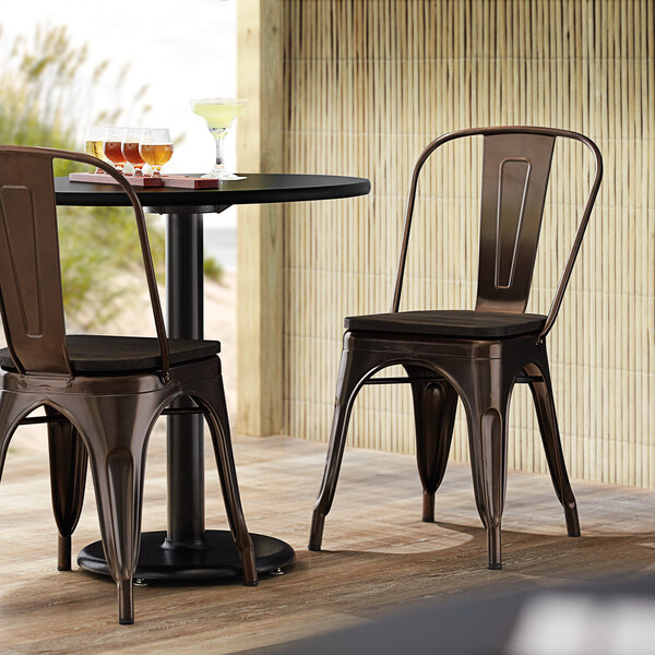 Lancaster Table & Seating Alloy Series Copper Metal Indoor Industrial Cafe Chair with Vertical Slat Back and Black Wood Seat Main Image 4