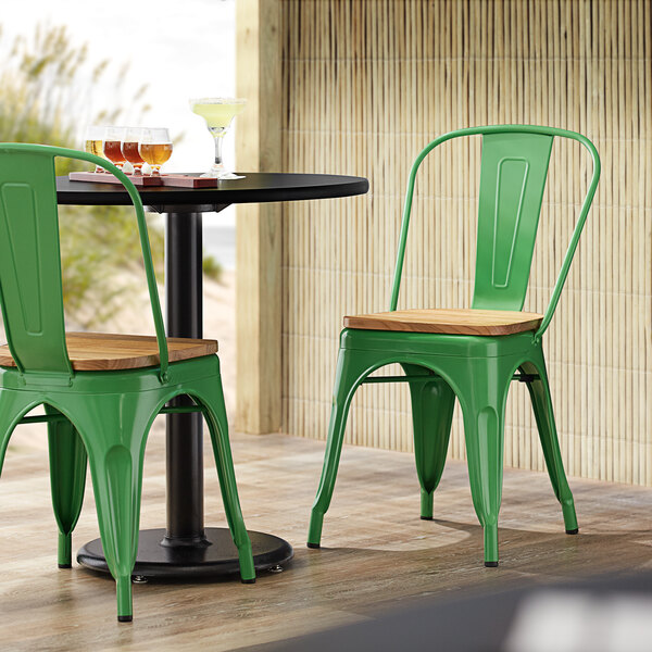 Lancaster Table & Seating Alloy Series Green Metal Indoor Industrial Cafe Chair with Vertical Slat Back and Natural Wood Seat Main Image 4