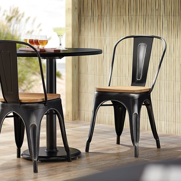 Lancaster Table & Seating Alloy Series Distressed Black Metal Indoor Industrial Cafe Chair with Vertical Slat Back and Natural Wood Seat Main Image 4