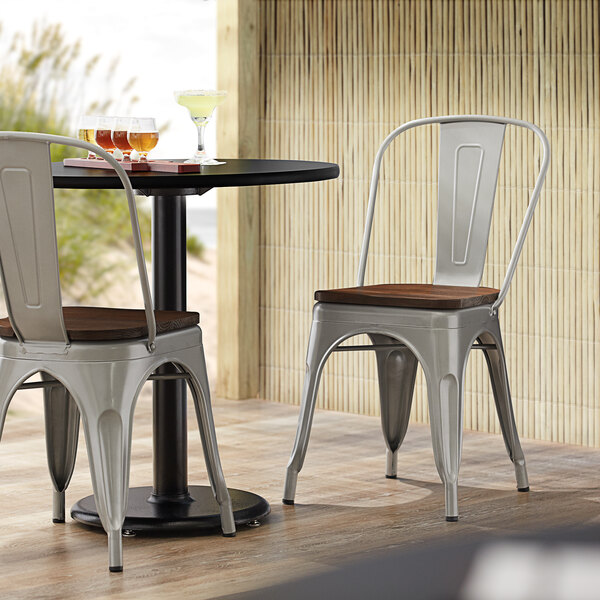 Lancaster Table & Seating Alloy Series Silver Metal Indoor Industrial Cafe Chair with Vertical Slat Back and Walnut Wood Seat Main Image 4
