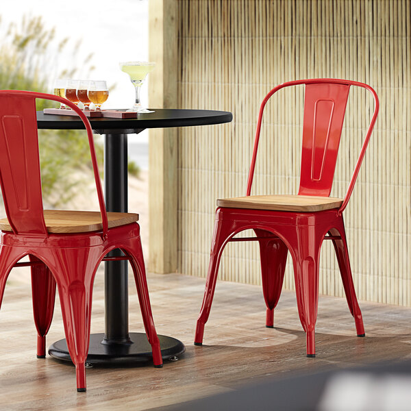 Lancaster Table & Seating Alloy Series Red Metal Indoor Industrial Cafe Chair with Vertical Slat Back and Natural Wood Seat Main Image 4