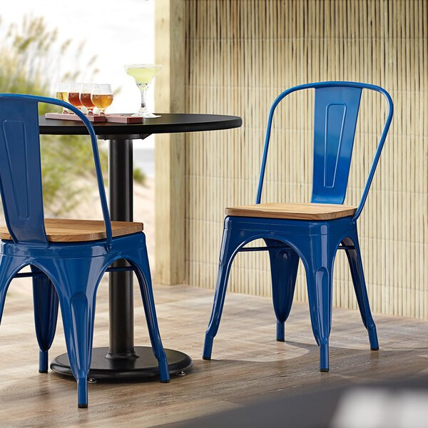 Lancaster Table & Seating Alloy Series Blue Metal Indoor Industrial Cafe Chair with Vertical Slat Back and Natural Wood Seat Main Image 4