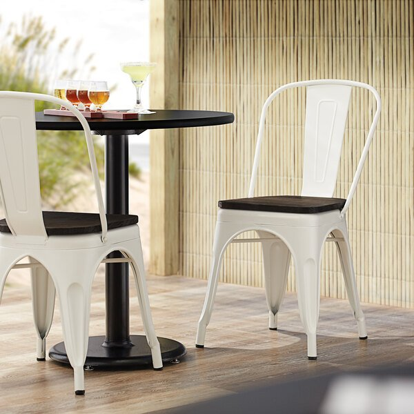Lancaster Table & Seating Alloy Series White Metal Indoor Industrial Cafe Chair with Vertical Slat Back and Black Wood Seat Main Image 4