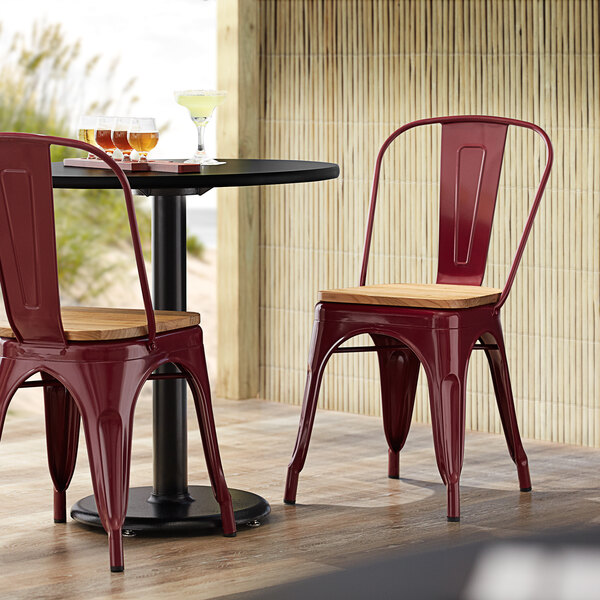 Lancaster Table & Seating Alloy Series Sangria Metal Indoor Industrial Cafe Chair with Vertical Slat Back and Natural Wood Seat Main Image 4
