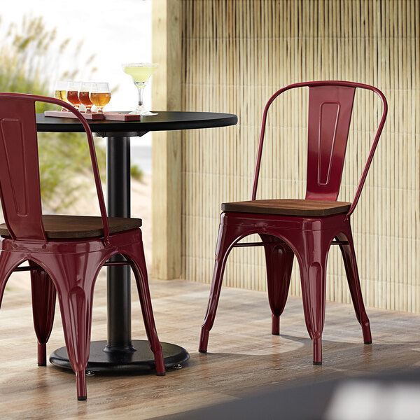 Lancaster Table & Seating Alloy Series Sangria Metal Indoor Industrial Cafe Chair with Vertical Slat Back and Walnut Wood Seat Main Image 4
