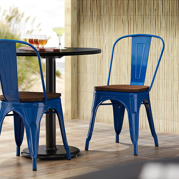 Lancaster Table & Seating Alloy Series Blue Metal Indoor Industrial Cafe Chair with Vertical Slat Back and Walnut Wood Seat Main Image 4