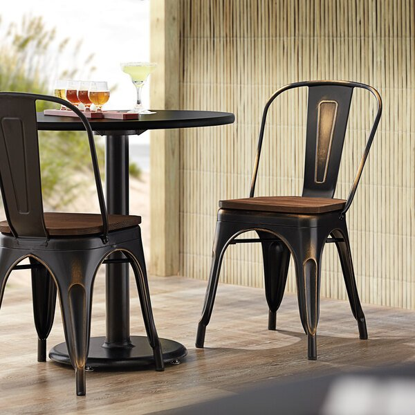 Lancaster Table & Seating Alloy Series Distressed Copper Metal Indoor Industrial Cafe Chair with Vertical Slat Back and Walnut Wood Seat Main Image 4