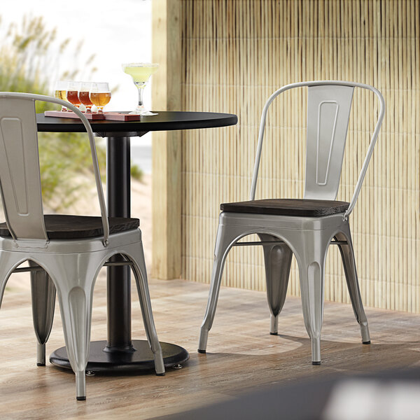 Lancaster Table & Seating Alloy Series Silver Metal Indoor Industrial Cafe Chair with Vertical Slat Back and Black Wood Seat Main Image 4