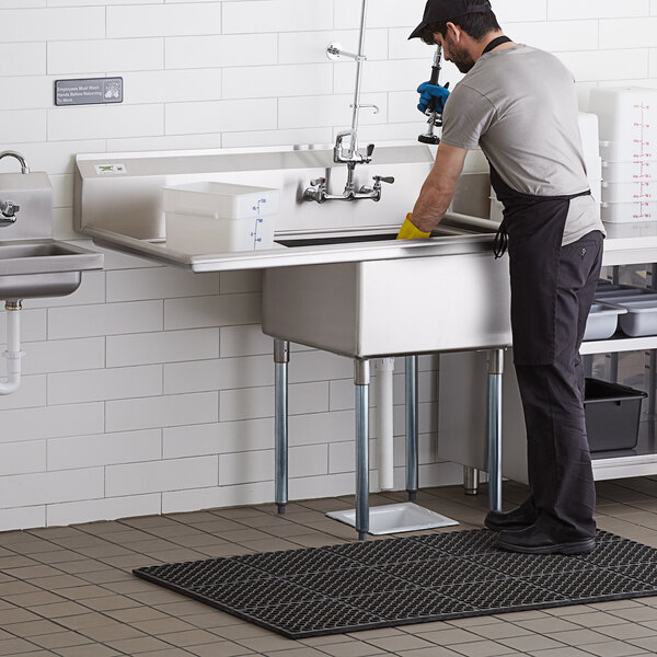 """Regency 16 Gauge Stainless Steel One Compartment Commercial Sink with Galvanized Steel Legs and 1 Drainboard - 23"""" x 23"""" x 12"""" Bowl Main Image 5"""