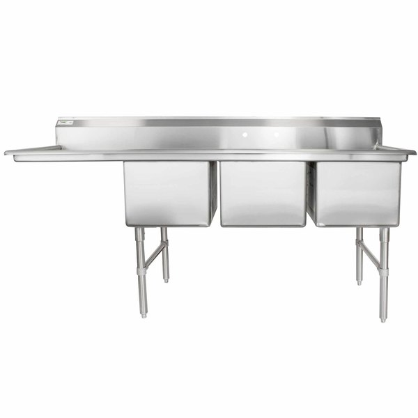 """Regency 84 1/2"""" 16-Gauge Stainless Steel Three Compartment Commercial Sink with 1 Drainboard - 18"""" x 24"""" x 14"""" Bowls"""