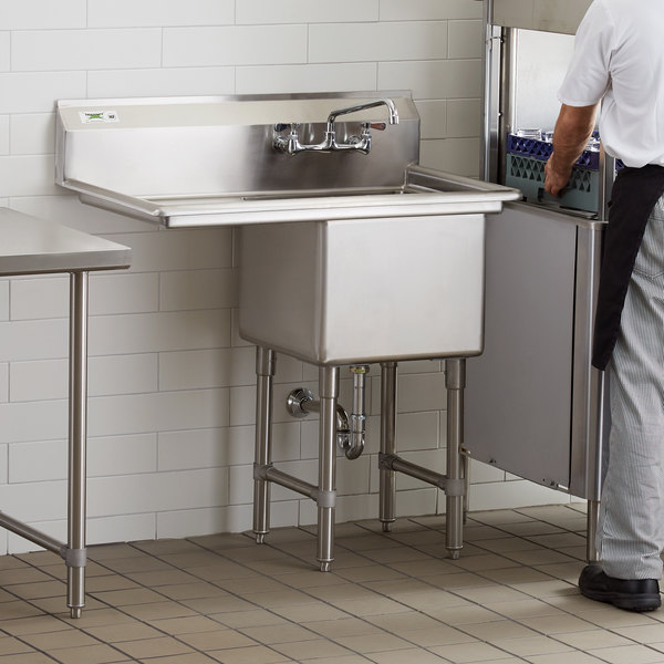"""Regency 38 1/2"""" 16-Gauge Stainless Steel One Compartment Commercial Sink with 1 Drainboard - 18"""" x 18"""" x 14"""" Bowl"""