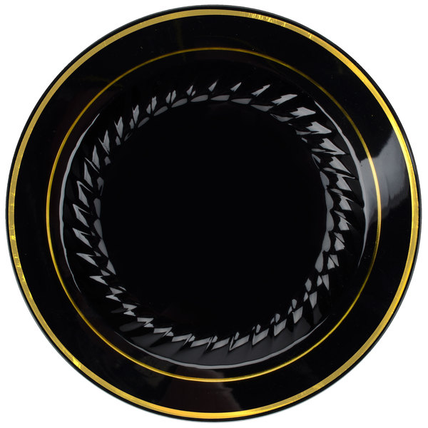 Fineline Silver Splendor 507-BKG Black 7 inch Plastic Plate with Gold Bands - 150 / Case