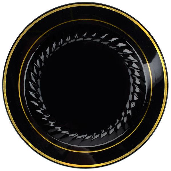 Fineline Silver Splendor 507-BKG 7 inch Black Customizable Plastic Plate with Gold Bands - 150/Case