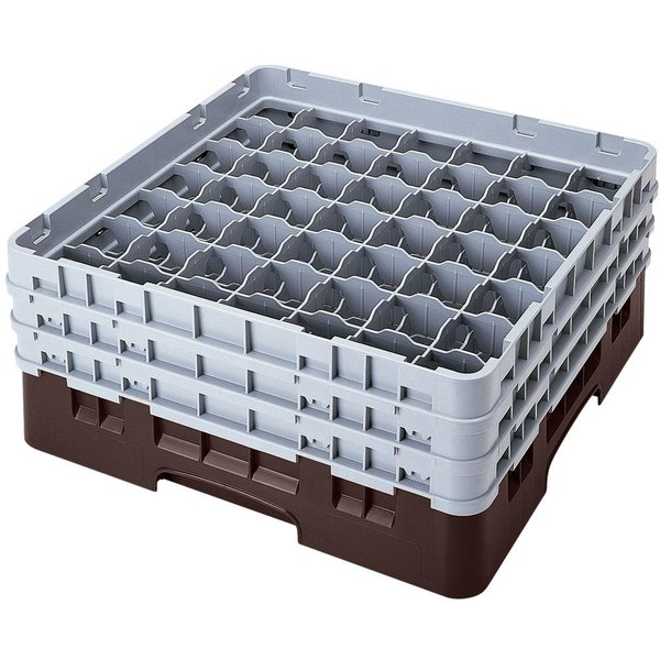 "Cambro 49S800167 Brown Camrack Customizable 49 Compartment 8 1/2"" Glass Rack"