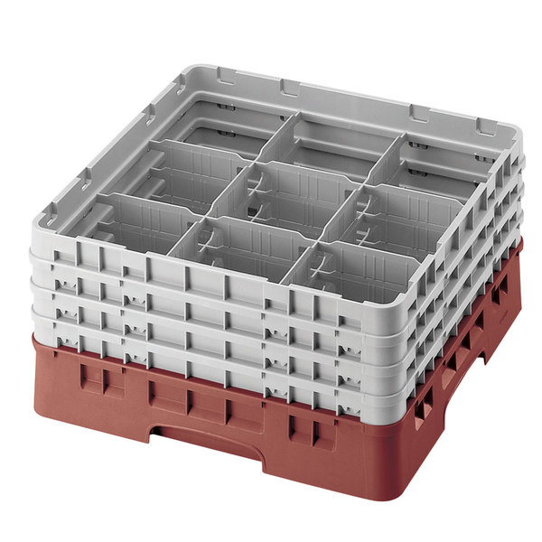 "Cambro 9S1114416 Cranberry Camrack Customizable 9 Compartment 11 3/4"" Glass Rack"