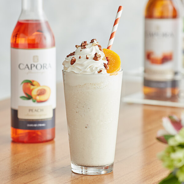 Capora 750 mL Peach Flavoring Syrup Main Image 2