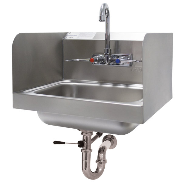 """Advance Tabco 7-PS-40 Hand Sink with Splash Mounted Gooseneck Faucet and Side Splash Guards - 17 1/4"""""""