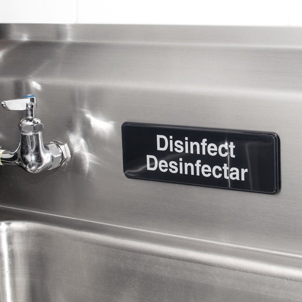 """Tablecraft 394553 Disinfect / Disinfectar Sign - Black and White, 9"""" x 3"""""""
