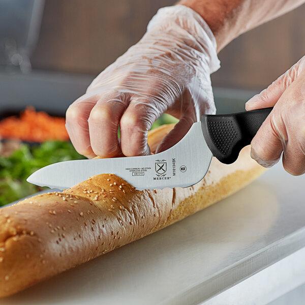 "Mercer Culinary M18134BK Ultimate White® 6"" Offset Wavy Edge Bread Knife - Black Handle Main Image 3"
