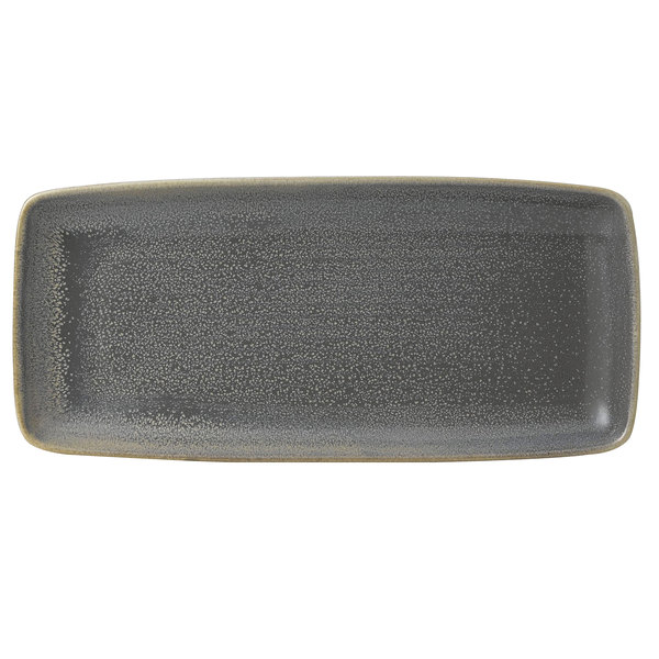 """Dudson EG271 Evo 10 5/8"""" x 4 3/4"""" Matte Granite Rectangular Stoneware Platter by Arc Cardinal - 12/Case Main Image 1"""