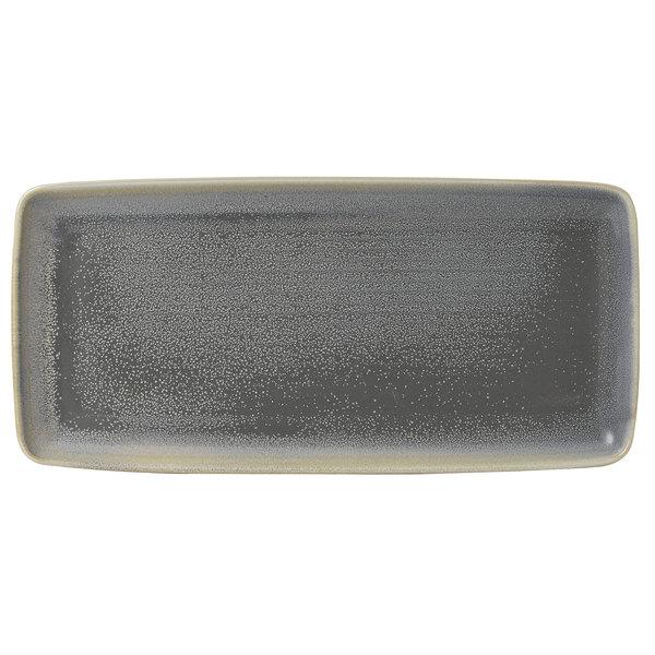 """Dudson EG356 Evo 14"""" x 6 1/2"""" Matte Granite Rectangular Stoneware Platter by Arc Cardinal - 8/Case Main Image 1"""