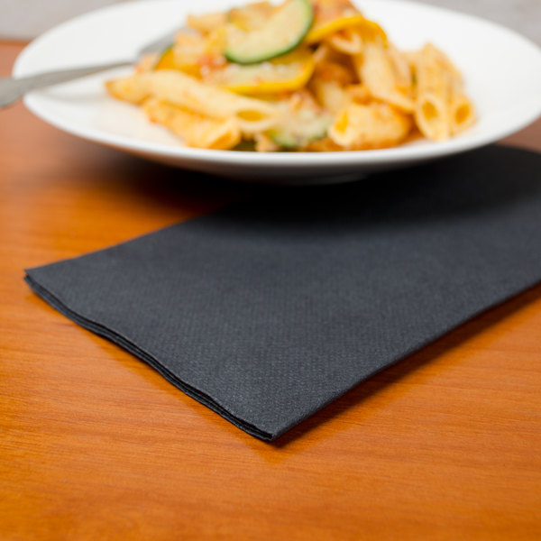 "Hoffmaster FashnPoint Black Linen-Feel Dinner Napkin, 1/8 Fold, 15 1/2"" x 15 1/2"" - 800/Case"