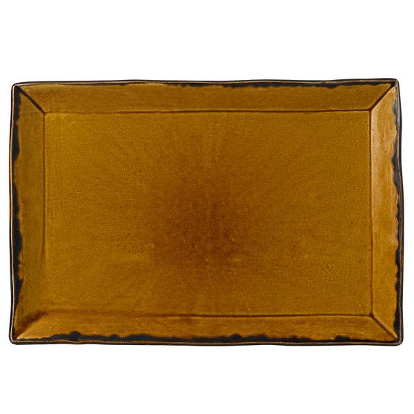 "Dudson HB002 Harvest 13 1/4"" x 9"" Brown Rectangular China Platter by Arc Cardinal - 6/Case Main Image 1"