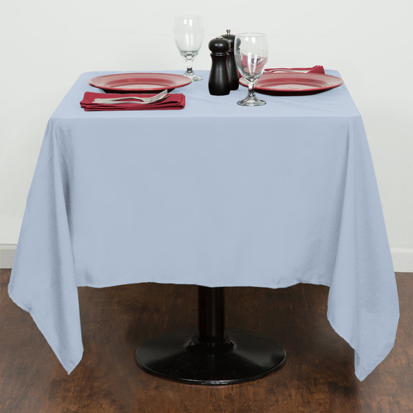 "64"" x 64"" Light Blue 100% Polyester Hemmed Cloth Table Cover"