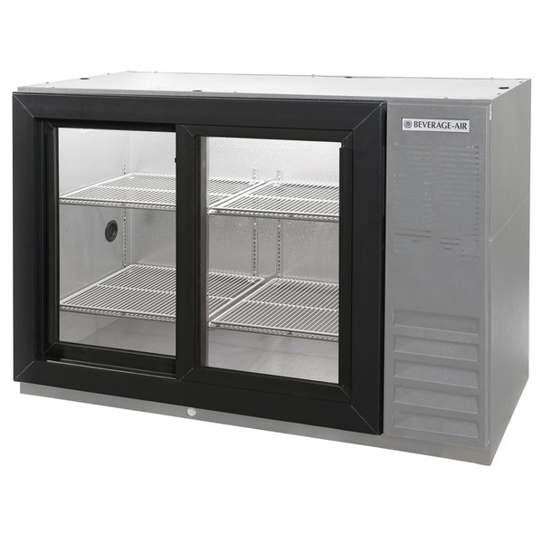 "Beverage Air BB48GSY-1-S-PT-LED 48"" SS Pass-Through Back Bar Refrigerator with Sliding Glass Doors - 115V"