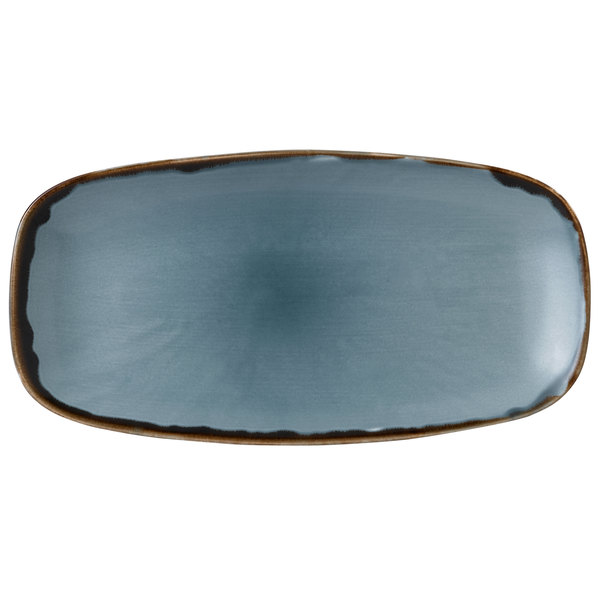 """Dudson HBL29 Harvest 11 3/4"""" x 6"""" Blue Oval China Plate by Arc Cardinal - 12/Case Main Image 1"""
