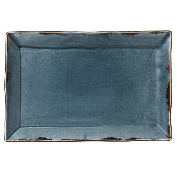 "Dudson HBL01 Harvest 13 1/4"" x 9"" Blue Rectangular China Platter by Arc Cardinal - 6/Case Main Image 1"