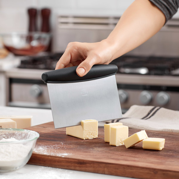 """OXO 73281 Good Grips 6"""" x 4"""" Stainless Steel Dough Cutter / Scraper with Black Handle Main Image 3"""
