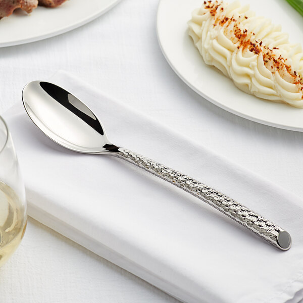 "Acopa Iris 8 1/2"" 18/10 Stainless Steel Extra Heavy Weight Forged Oval Bowl Dinner / Dessert Spoon - 12/Case Main Image 3"