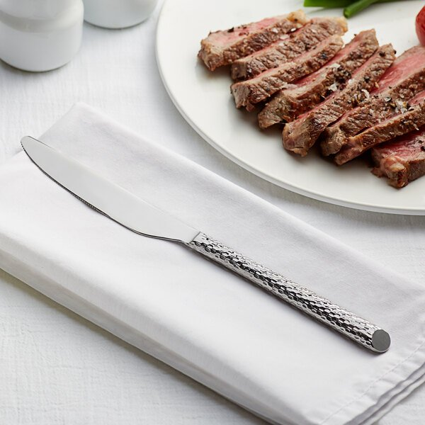 """Acopa Iris 9 1/2"""" 18/10 Stainless Steel Extra Heavy Weight Forged Dinner Knife - 12/Case Main Image 2"""