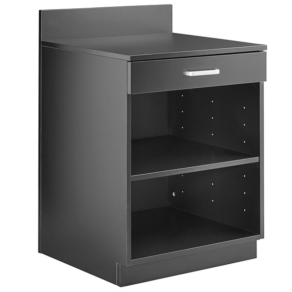 """Lancaster Table & Seating 24"""" Black Waitress Station with Drawer and Adjustable Shelf Main Image 1"""
