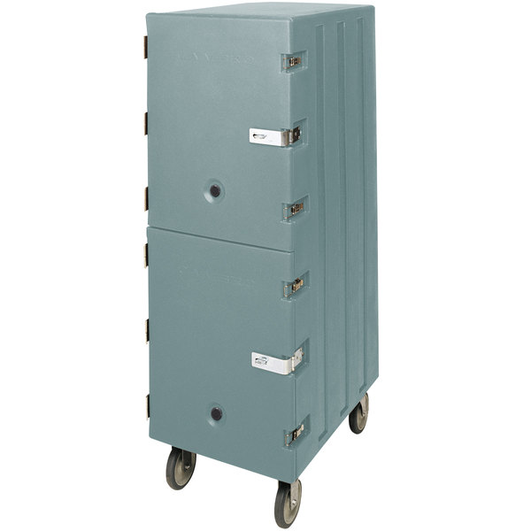 Cambro 1826DBCSP401 Camcart Slate Blue Double Compartment Food Storage Box Carrier with Security Package