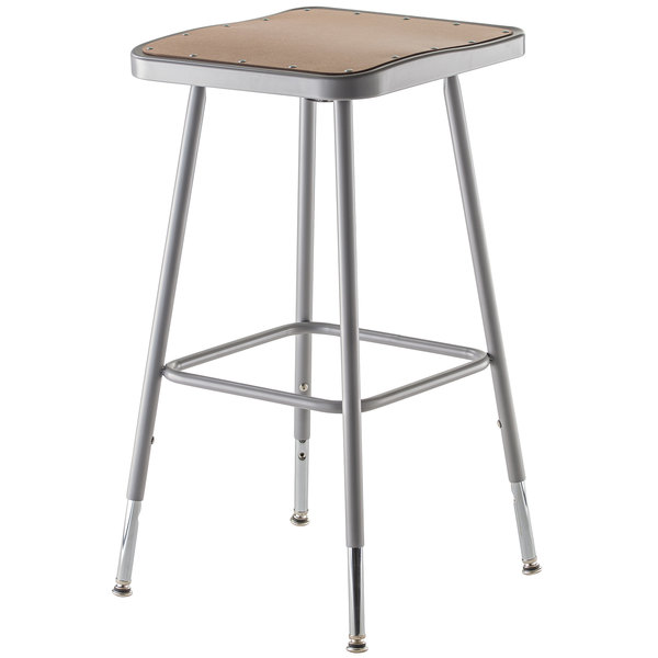"National Public Seating 6324H 25"" - 33"" Gray Adjustable Hardboard Square Lab Stool"