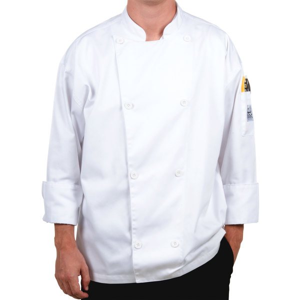Chef Revival Silver J002-4X Knife and Steel Size 60 (4X) White Customizable Long Sleeve Chef Jacket - Poly-Cotton Blend