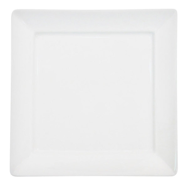 "CAC F-SQ8 Paris French 9"" Bone White Square Porcelain Plate - 24/Case"