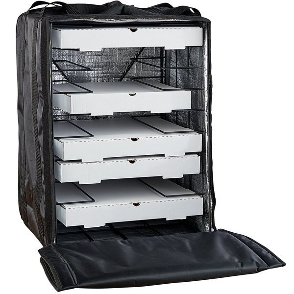 """American Metalcraft BLB1926 Deluxe Black Polyester Pizza Delivery Bag with Rack, 19"""" x 19"""" x 27"""" - Holds Up To (10) 18"""" Pizza Boxes Main Image 1"""