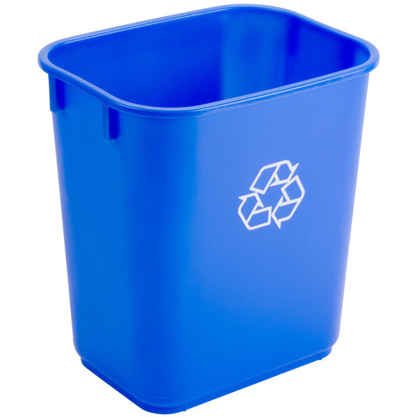 Continental 1358-1 13.6 Qt. / 3 Gallon Blue Rectangular Recycling Wastebasket / Trash Can Main Image 1