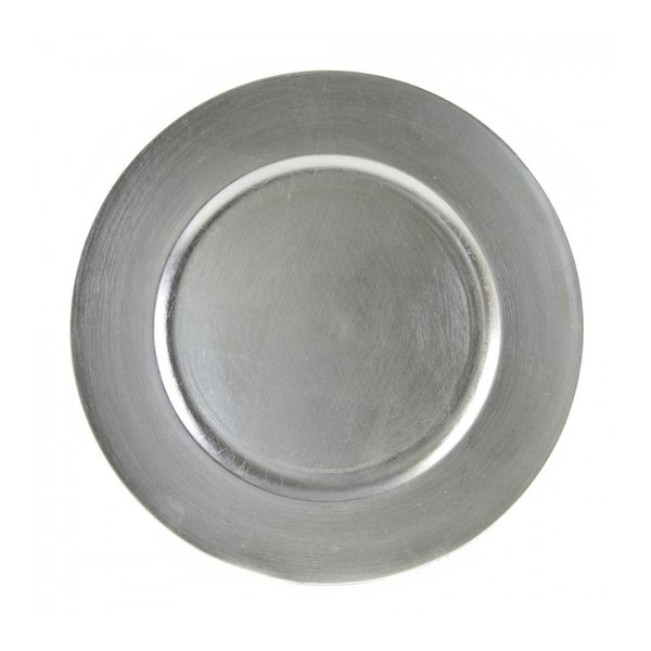 """10 Strawberry Street LAS-24 13"""" Lacquer Round Silver Charger Plate"""