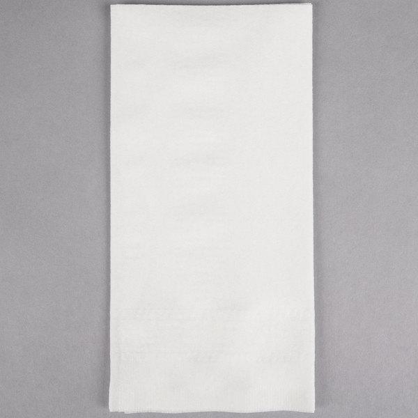 Hoffmaster 120051 17 inch x 17 inch White Linen-Like 1/8 Fold Greek Key Embossed Dinner Napkin - 300/Case